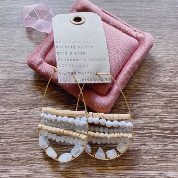 Anthropologie Jewelry - NWT Anthropologie White Beads Hoop Earrings